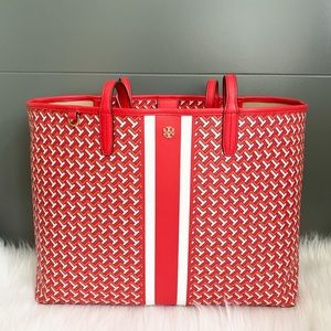 TORY BURCH TZAG Printed Shopper Tote Bag RED NEW